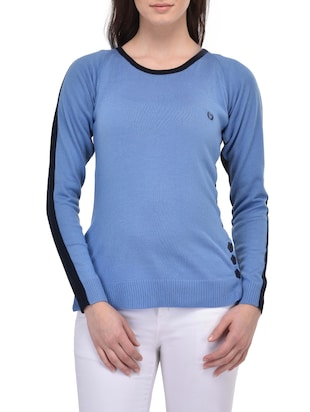 blue acrylic pullover