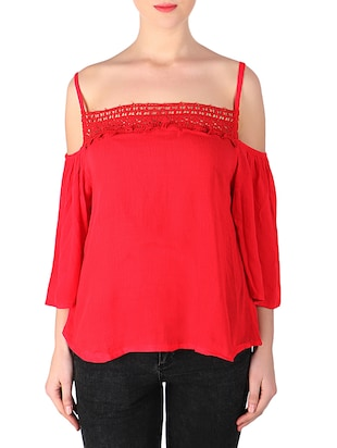 red rayon regular top