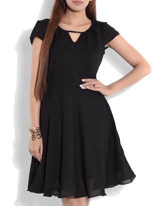 Solid black fit and flare dress -  online shopping for Dresses