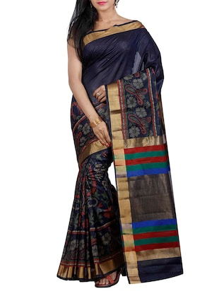 blue silk blend woven saree
