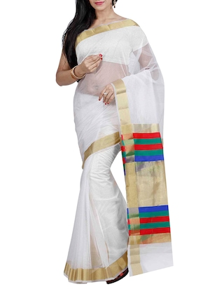 White Super Net Woven Saree