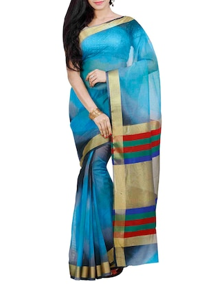 Blue Super Net Woven Saree
