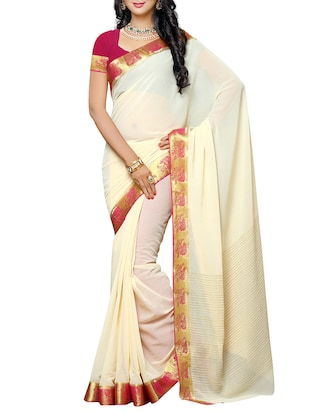 Cream Chiffon Bordered Saree