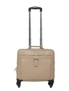 beige leather luggage bag
