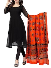 Orange Cotton Embellished dupatta -  online shopping for Dupattas