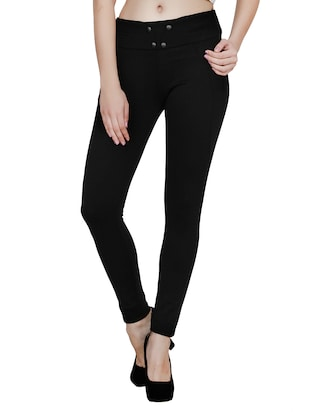 black polyester jeggings