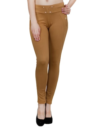 brown polyester jeggings