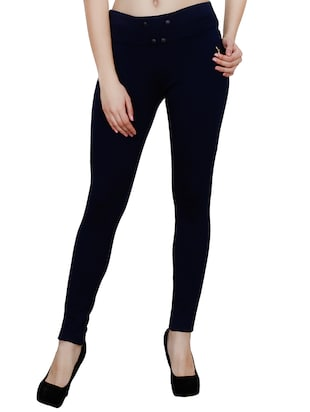 navy blue polyester jegging