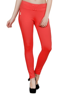 red polyester jeggings