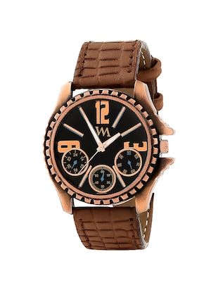 WATCH ME Brown Leather Black Dial Watch For Men Brown Leather Black Dial Watch For Men Watch MeAL-180