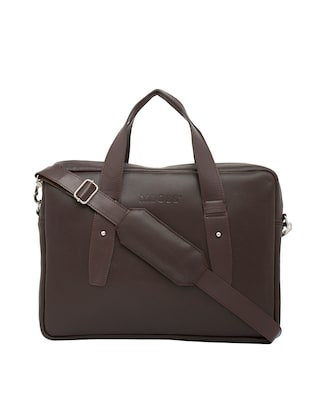 brown synthetic leather laptop bag -  online shopping for Bags