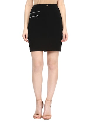 black polyester pencil skirt