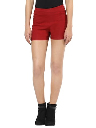 red cotton lycra shorts