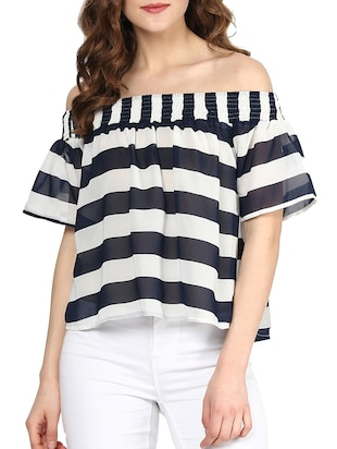 navy blue striped poly georgette regular top