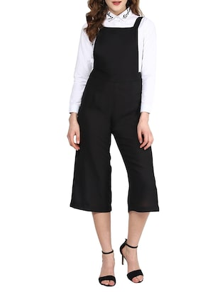 black poly georgette dungaree