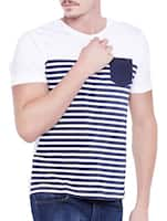 white cotton striped t-shirt -  online shopping for T-Shirts