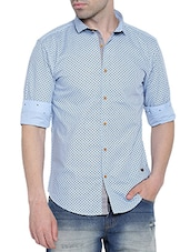 blue linen printed casual shirt -  online shopping for casual shirts