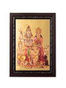 Multicoloured Faux Wood Printed Shiva Parvati Wall Hanging