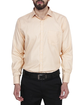 yellow cotton checked formal shirt