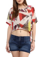 Yellow Georgette Printed Regular Fit Crop Top