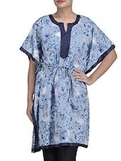 Blue Cotton And Silk Printed Kimono Dress - By