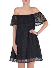 Black Cotton And Nylon Solids Lace Dress - By