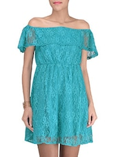 Blue Cotton And Nylon Solids One Shoulder Dress - By
