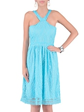 Blue Cotton And Nylon Solids Fit Lace Dress - By