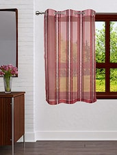 Lushomes Stylish Maroon  Sheer Curtains With Stripes For Windows - By