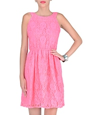 Pink Cotton And Nylon Solids Lace Dress - By