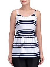 White Polyester Crepe Striped Cami Top - By