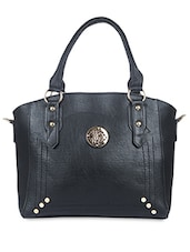 Black Leatherette Embellished Handbag - By
