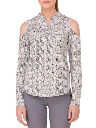 white printed crepe regular top -  online shopping for Tops