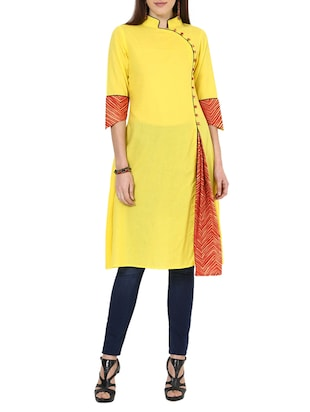 yellow none aline kurta