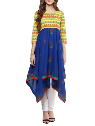 blue none asymmetric kurta -  online shopping for kurtas
