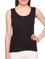 Black Cotton Plain Camisole - By