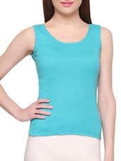 Green Cotton Plain Camisole - By