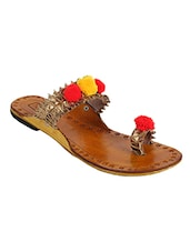 Gold Pom Poms One Toe kolhapuri -  online shopping for Kolhapuris