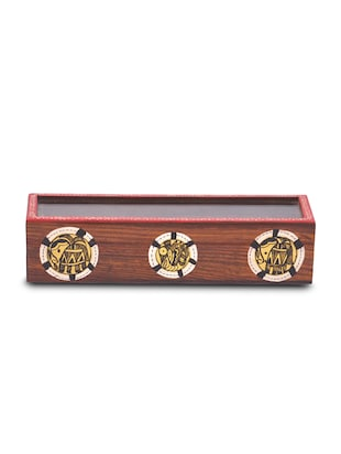 Brown wooden handcrafted spice box