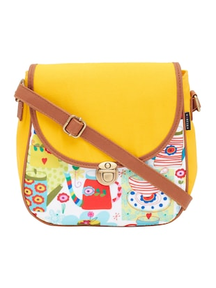 yellow canvas messenger sling bag