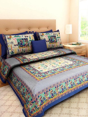 Gangaur Fashion  Blue Colour  Ethnic Print 1 Double BedSheet with 2 Zipper Pillow Covers