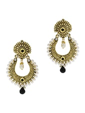 White and Black Embellished Gold Chandbali Earrings -  online shopping for earrings