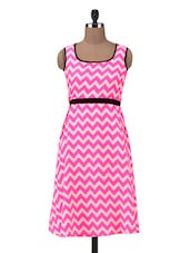Pink And Offwhite Polyester Chevron Print Dress - By