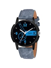 black dail blue leatherette strap analog watch -  online shopping for Analog Watches
