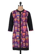 Purple Cotton Owl Printed High Neck Kurti - By