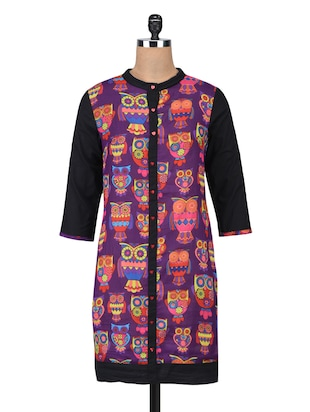 purple Cotton Straight Kurta