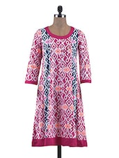 Pink Cotton Block Print Anarkhali Kurti - By