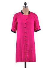 Pink Rayon Plain Kurti - By