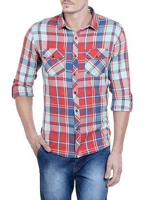 red cotton checked casual shirt