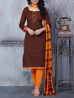 brown cotton dress material -  online shopping for Dress Material